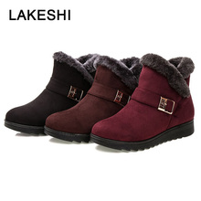Fashion Women Boots Snow Warm Fur Winter Shoes Wedge Ankle Booties Suede Female Bota