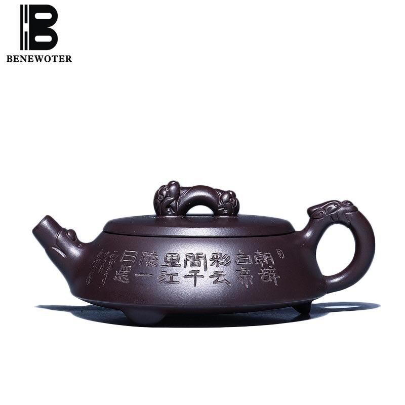 180cc Yixing Roxo Argila Pote Saúde Lao Zi Lama De Minério Bruto Zisha Drinkware Pedra Colher Bule Do Vintage Kung Fu Jogo de Chá Puer chaleiras