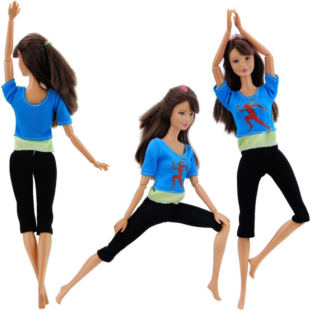 ★  Девушки йоги ручной работы повседневная одежда синяя рубашка жилет черные узкие брюки домашний костю ✔