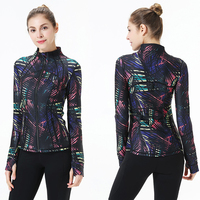 Latest New Printed Yoga Sport Jacket Women Anti sweat Nylon Running Jogger Coat Elastic Fitness Jacket Top with Thumb Holes