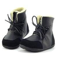 2016 neue Marke Echt Ziegenfell Jungen Winter Schnee Kinder Mädchen Plüsch Stiefel Schuhe Kinder Echtem Leder Turnschuhe Lace-up