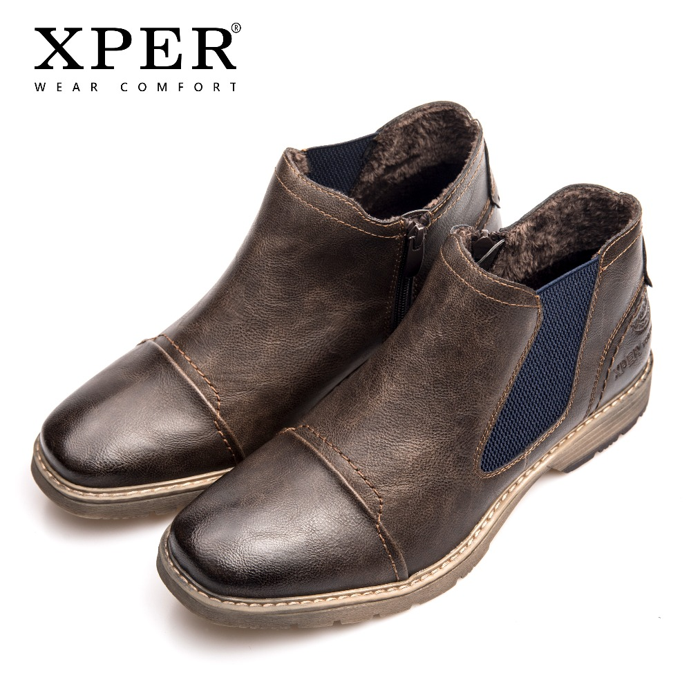 bf8ac63ec4fd3 US $36.71 52% OFF|XPER Brand Shoes Men Chelsea Boots Fashion Slip On Zip  Autumn Winter Ankle Boots Men Fur Leather Causal Footwear Brown  #XHY14004-in ...