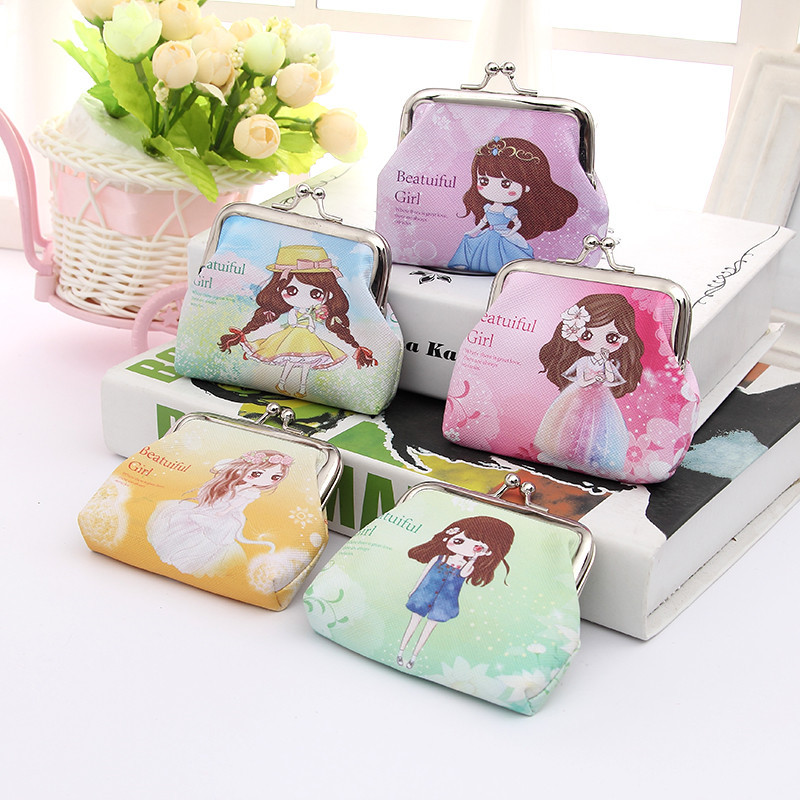 Bamboo Charm Fashion Mini PU Womens Purse Casual Metal Frame Wallet Lovely Girl Printing Small Lady Clutch Color Pattern Random