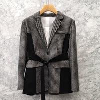 Women Blazer Tweed Single Breasted Regular Length Plaid Full Sleeve Notched Pockets Patchwork Sashes Office Lady Feshion 2019