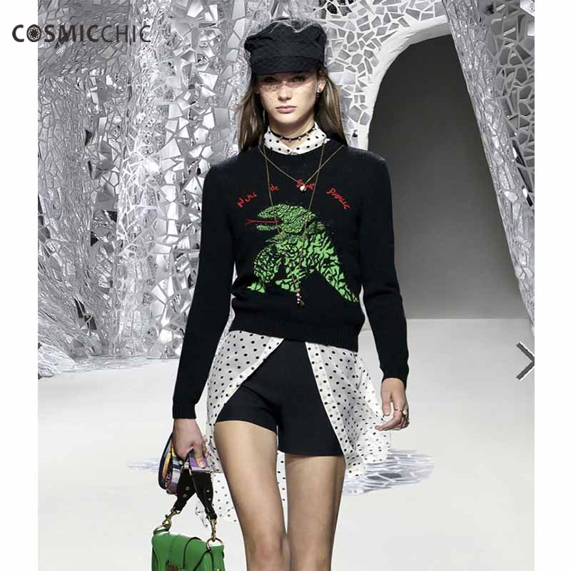Cosmicchic Embroidery Cashmere Sweater Women 2018 Fall Winter Long Sleeve Pullover Dinosaur Runway Fashion Sweater LY273