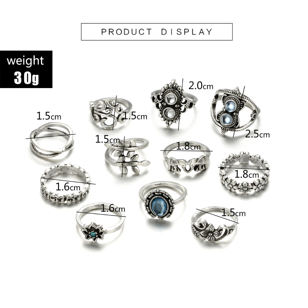HuaTang Bohemian Antique Silver Ring Geometric Elephant Flower Green Rhinestone Knuckle Rings Midi Finger Anel Rings Jewelry 83