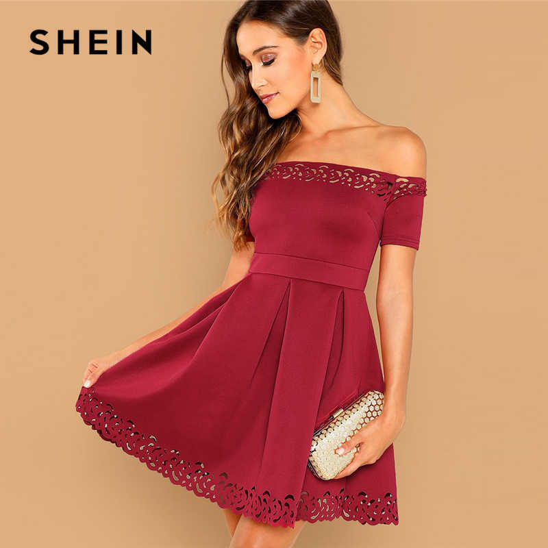 SHEIN Burgundy Elegant Off Shoulder Laser Cut Fit and Flare Mid Waist Mini Dress Women Summer Short Sleeve A Line Party Dresses