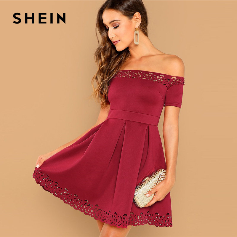 SHEIN Burgundy Elegant Off Shoulder Laser Cut Fit And Flare Mid Waist Mini Dress Women Summer Short Sleeve A Line Party Dresses
