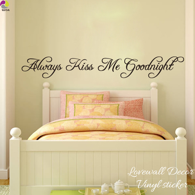 Always Kiss Me Goodnight Wall Sticker Bedroom Kids Room Love Quote Wall  Decal Baby Nursery Vinyl