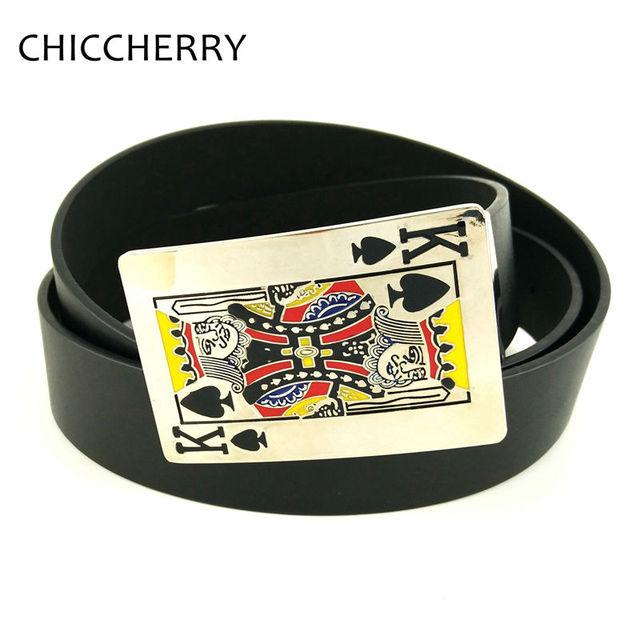 Nueva Llegada Naipes Spade K Royal Flush Poker Tarjeta Metálica de Plata Cinturón de Hebilla de Los Hombres Cinturones de Cuero de La Pu Para pantalones vaqueros