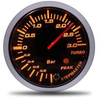 60MM Auto Turbo Boost gauge 3 BAR boost controller White&Amber Dual Led Display Peak Warning Car Meter kit medidor controlador