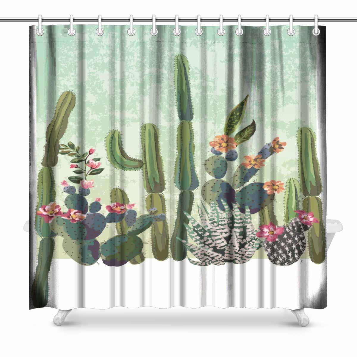 Aplysia Cute Succulents Cactus Bathroom Shower Curtain Accessories