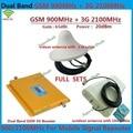 LCD GSM 3G Repetidor de Doble Banda GSM 900 MHz 2100 MHz W-CDMA UMTS Repetidor 3G Antena Amplificador de Señal 2G 3G Teléfono Móvil Booster