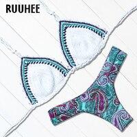 RUUHEE 2017 Hot Crochet Bikini Set Knitted Swimsuit Sexy Swimwear Women Handmade Crochet Bikinis Women Biquini