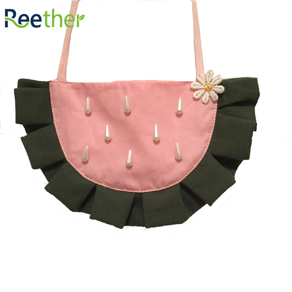 Reether Girl Handmade Cute Small Shoulder Bag Chage Wallet Children Cute Watermelon Purse Kids Coin Pouch