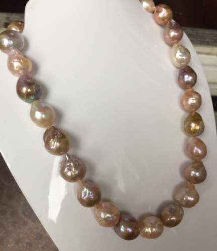 цена на gorgeous 13-14mm south sea baroque multicolor pearl necklace 18inch >>>women jewerly