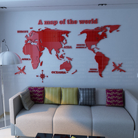 High Quality Map Of The World 3d Crystal Acrylic Wall Stickers Home Decor For Living Room
