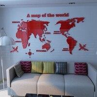 Kristall Acryl Karte der Welt 3d Wandaufkleber Steuern Dekor für Wohnzimmer TV Sofa Hintergrund Adesivos De Parede Hohe Qualität