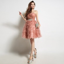 Robe De Soiree Pink Lace Short Cocktail Embroidery with Beaded Perspective Backless Fashion Party Bride Prom