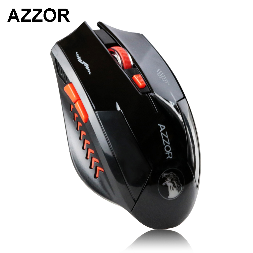 все цены на  AZZOR Rechargeable Wireless Mouse Slient Button Computer Gaming 1600DPI Built-in Battery with Charging Cable For PC Laptop  онлайн