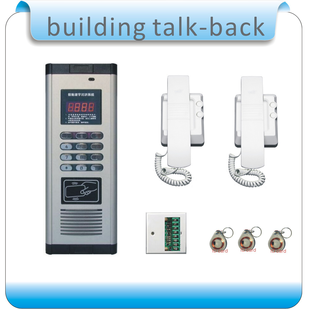 Free shipping DIY DC-12V building talk-back+RFID access control system +2 doorphone+1decoder+10pcs RFID card free shipping 10pcs dd302 2