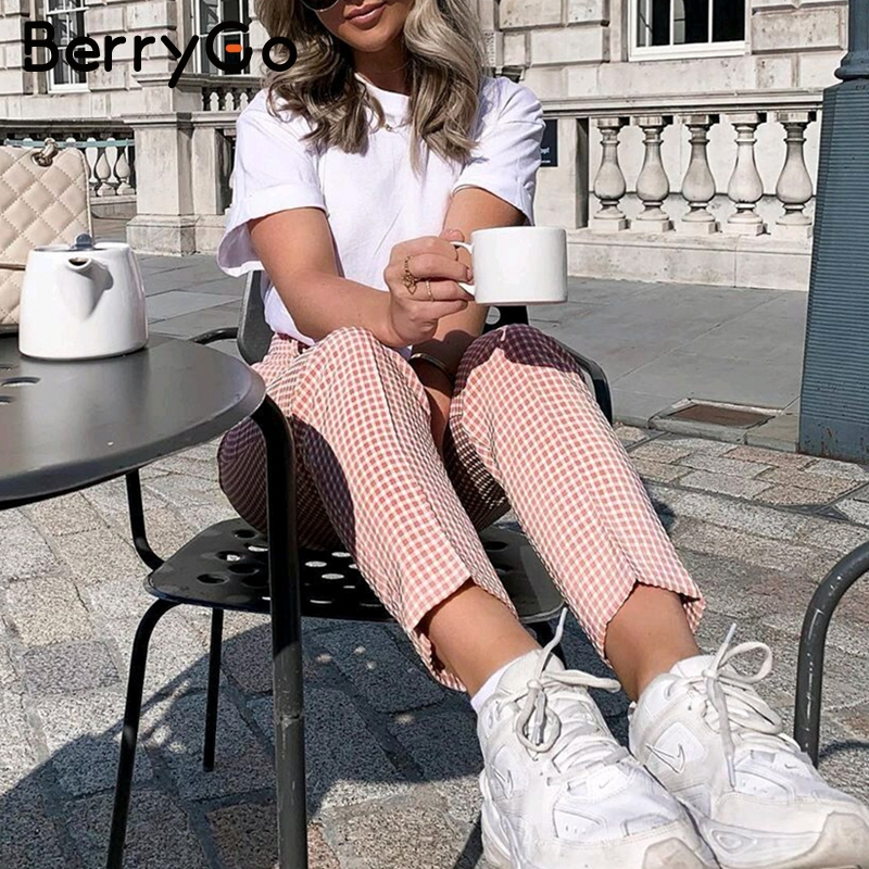 BerryGo Pink Plaid Casual Pants Women 2019 Summer Vintage Work Pants Capris Female Straight Office Ladies British Style Trousers