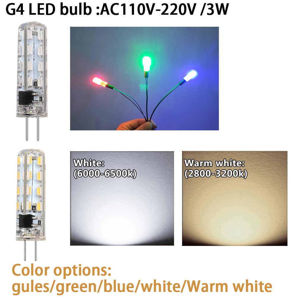 Lâmpada led substituir halogênio-luz silicone-lâmpada leds 220 v g4 smd3014 2 w 4 w 6 w 8 w ac/dc12v AC110V-220V
