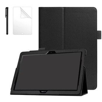 """Sprawa dla Huawei MediaPad T5 AGS2-W09/L09/L03/W19 10.1 """"Tablet Slim inteligentne skórzane etui do Huawei T5 10 stań pokrywy + Film + długopis"""