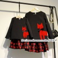Children clothing Mother Daughter Blouse and skirt set Little red cat , 2-10 years old Child baby Girl Women plus Large size 4XL