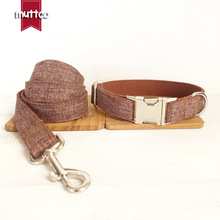 Dog Collar Lead Set Brown Color Soft Cotton Nylon Comfort Adjustable Pet Products Leash Puppy Durable Accessory