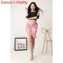 2019 New Spring And Summer Top Mesh Skirt Hip Scarf Beginner Dance Costume Women Sexy Belly Dance Competition Practice Clothes