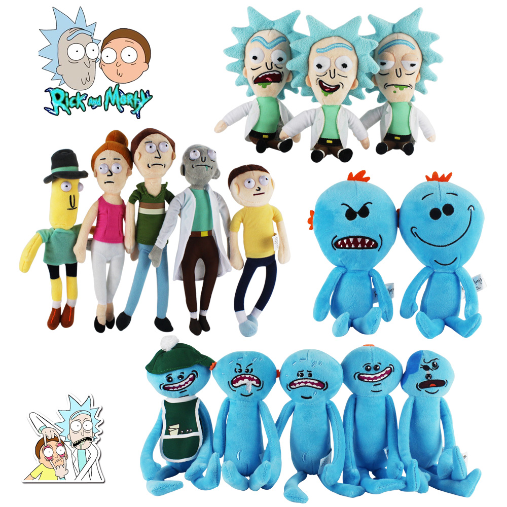 20-30cm 15 Styles Rick And Morty Plush Toys Happy Sad Foamy Mr Meeseeks Plush Dolls Mr. Poopybutthole Soft Stuffed Toys In Stock