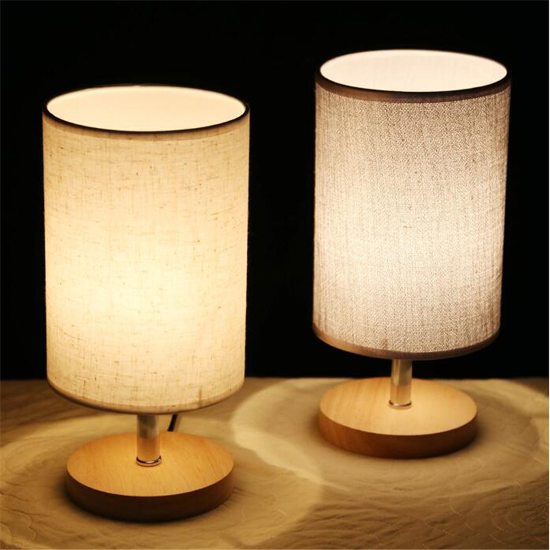 Modern Brief Fashion Fabric Wooden Table Lamp For Bedroom Bedside Bar Restaurant Led E27 Table Lights 1262 modern brief fashion fabric lampshade purple 5w led wall lights for bedroom aisle wedding decoration lamp a259