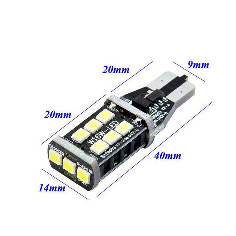 2x T15 W16W LED CANBUS 2835 Chip 15LED High Power Backup Backljus - Bilbelysning - Foto 2