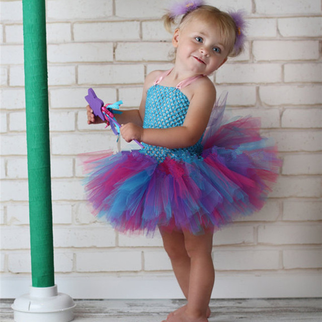 05801f2655 Cute Baby Girls Crochet Tutu Dress Kids Handmade 2Layers Fluffy Tulle  Ballet Tutus with Flower Headband Children Party Dresses