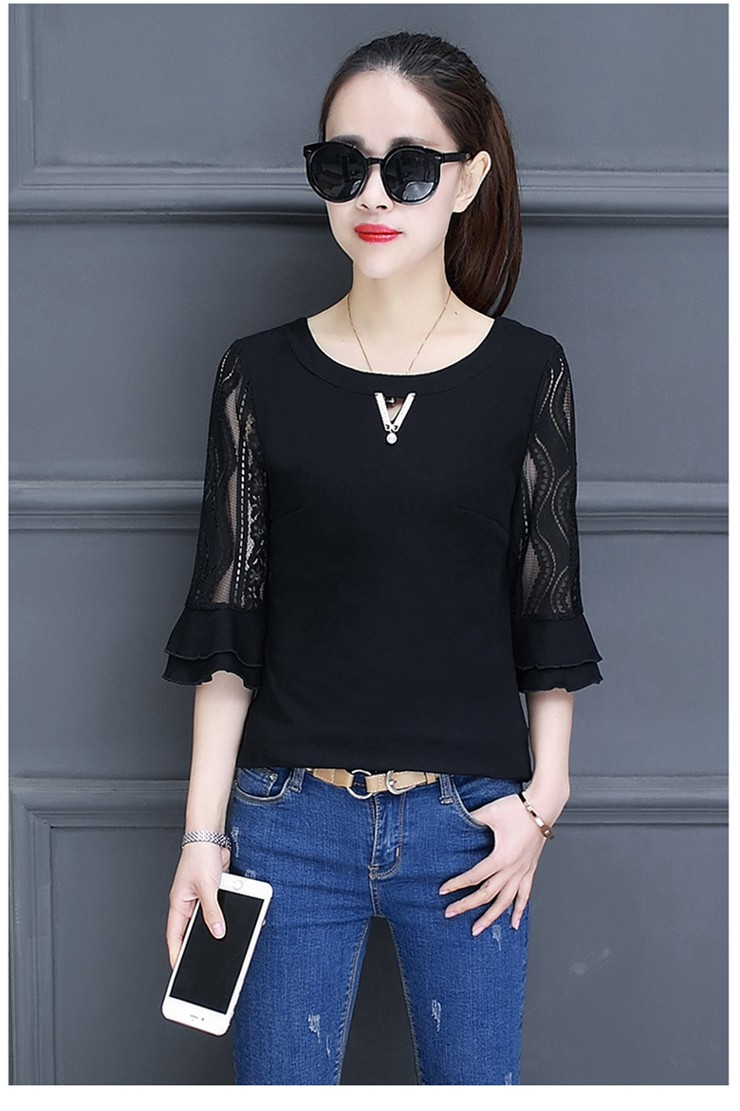 Women Blouse Summer Tops 2018 New Arrival Patchwork Blusas Mujer Lace Flare Sleeve Female Shirts Khaki Green Yellow  (12)