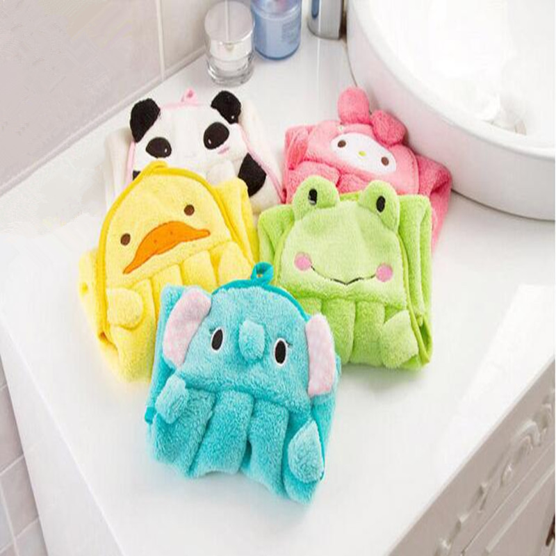 10pcs/lot New Baby Hand Towel Soft Childrens Cartoon Animal Hanging Wipe Bath Face Towel