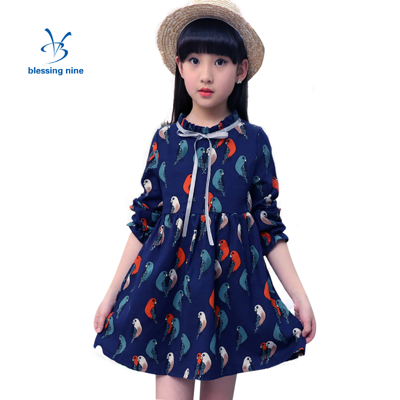 Kids Dress for Girls Autumn Long Sleeves Flower Girl Dresses 2017 Spring Girls Clothes Princess Costumes Children 8 9 10 11 12 T fashion 2016 new autumn girls dress cartoon kids dresses long sleeve princess girl clothes for 2 7y children party striped dress