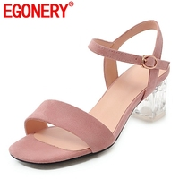 EGONERY Cute girl open toe sweet sandals 2019 summer new style women open toe solid color mid thick heel ankle buckle heels lady