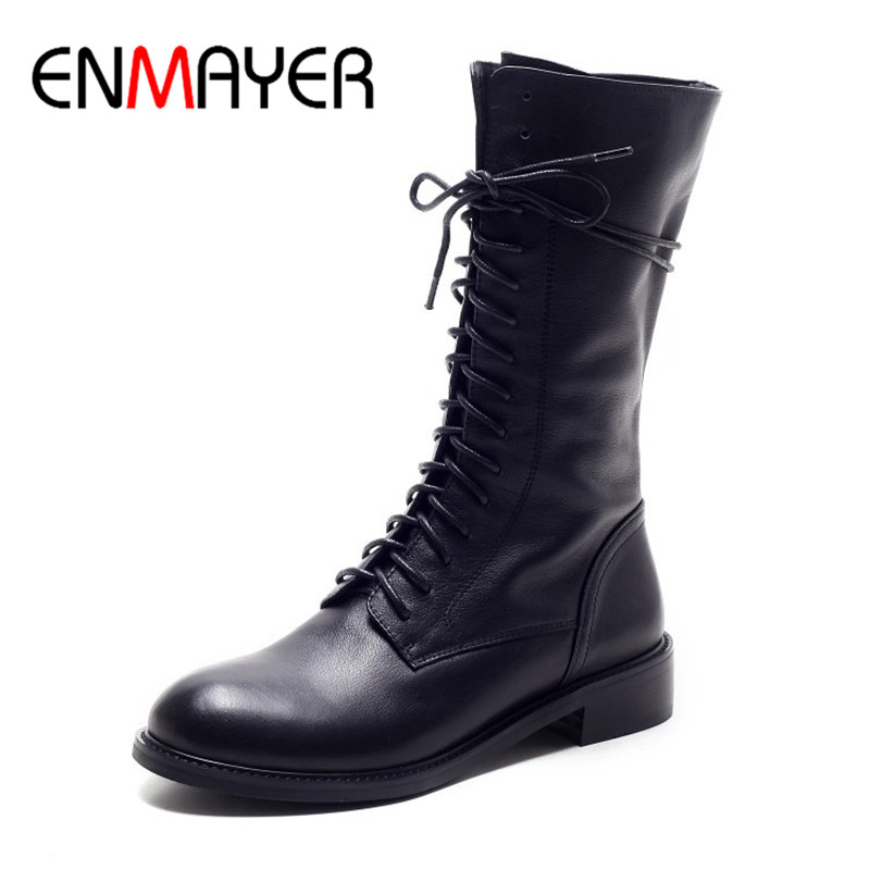 ENMAYER New Fashion Spring Autumn Boots Lace-up Round Toe Women Shoes Genuine Leather Mid-Calf Boots Black Low Heel Shoes women spring autumn thick mid heel genuine leather round toe 2015 new arrival fashion martin ankle boots size 34 40 sxq0902