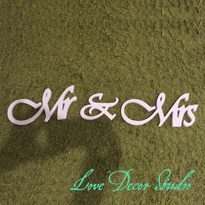 white Painted Wood Mr & Mrs Wedding Table Letters NEW