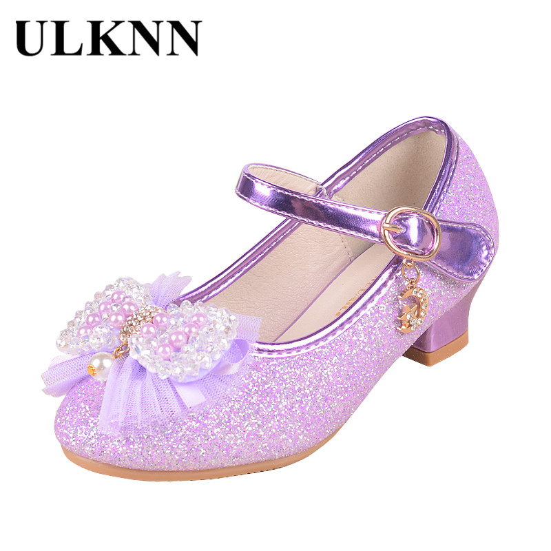 ULKNN Girls Leather Shoes Children Kids Shoes Mary Jane High Heel Party Princess Bow Knot Glitter Pearl Bling Pink Purple Sandal