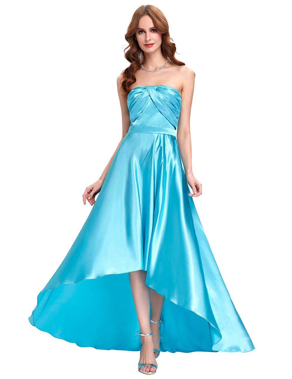 Kate Kasin High Low Evening Dresses Long Satin Strapless Party ...