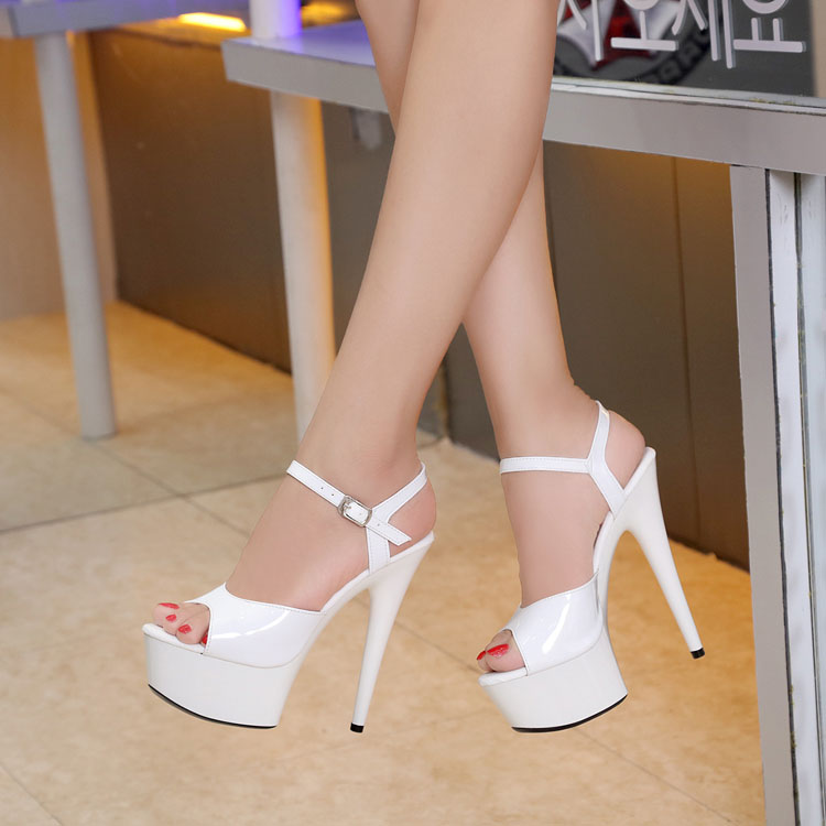 WomenShoes 2016 New 15cm High heeled Sexy Fish Mouth with T Taiwan Catwalk Models Show Car