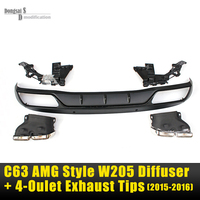 Mercedes W205 ABS AMG C63 Style Diffuser & Twin exhaust Tip For Benz C Class W205 Basic Edition Fits 4 door Sedan Only 2015 2016