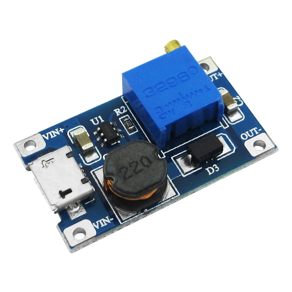 5 Pcs DC-DC Adjustable Boost Module 2A Boost Plate 2A Step Up Module With MICRO USB 2V - 24V To 5V 9V 12V 28V MT3608 LM2577