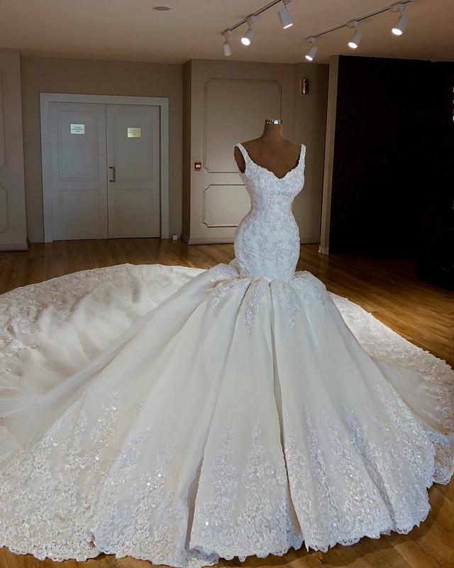 Luxury Abiye Mermaid Wedding Dresses Lace Bridal Gowns With Long Watteau Train Beaded Crystal Dubai Wedding Dress Casamento Wedding Dresses Aliexpress