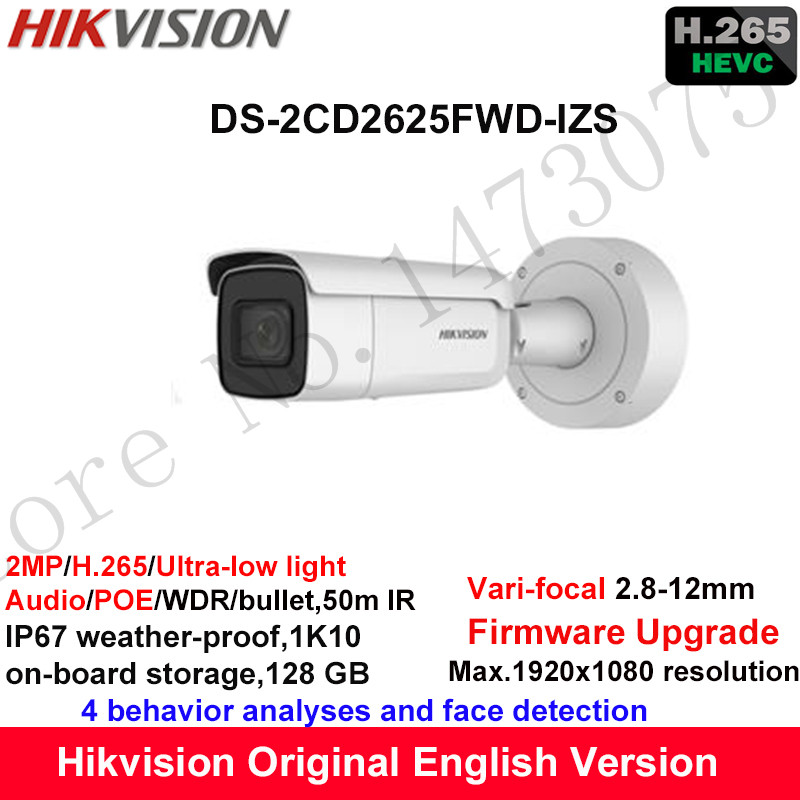 Hikvision 2MP Ultra-low light Vari-focal CCTV IP Camera H.265 DS-2CD2625FWD-IZS Bullet Security Camera 2.8-12mm face detection видеокамера ip hikvision ds 2cd2642fwd izs цветная