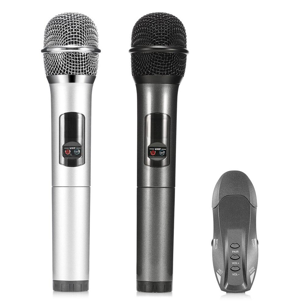 Mesuvida K18u 2PC UHF Wireless Microphone Bluetooth 3.0 karaoke Mic for iOS Android Smartphone Computer For Meeting Class Speech