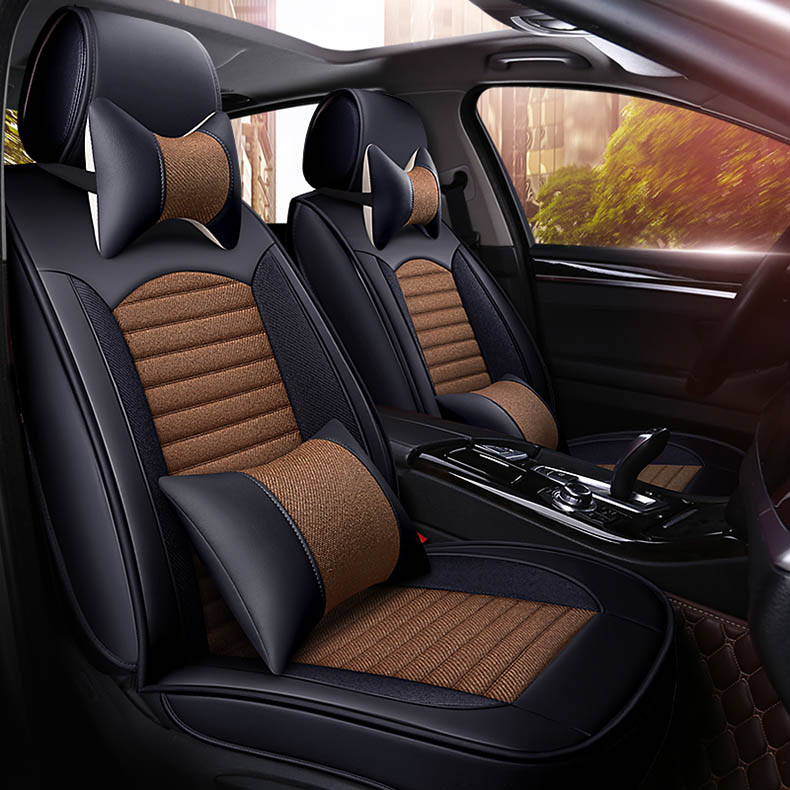 Universal Car Seat Cover Leather For Auto Toyota Peugeot